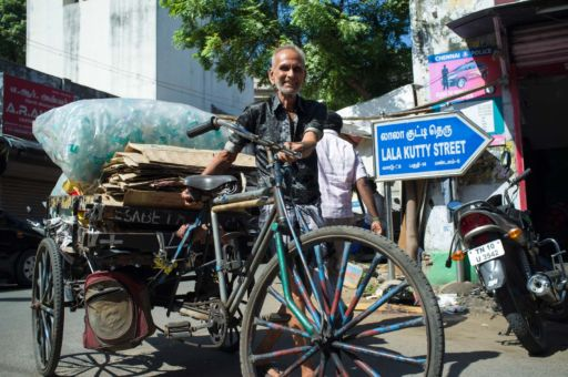 Cart puller transports goods in Chennai.