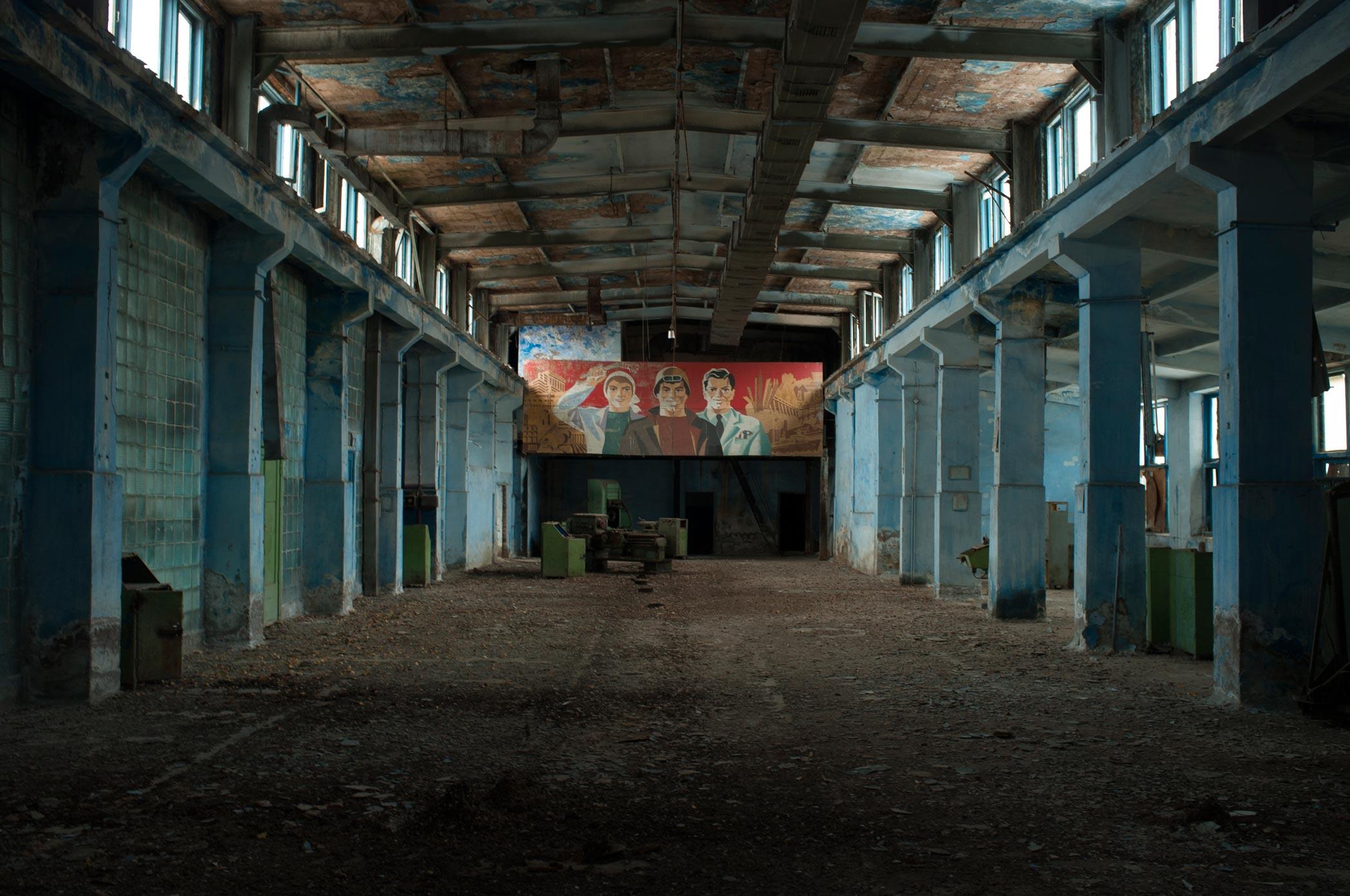 A derelict pen factory in Min Kush, Kyrgyzstan