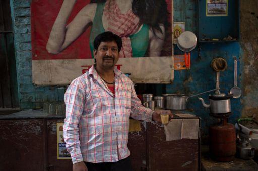 Suresh, a third generation chai wallah, at his stall in Varanasi.
