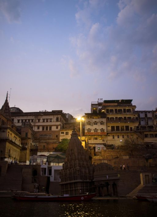 The sunken Shiva Temple at Scindia Ghat on the Ganges River.