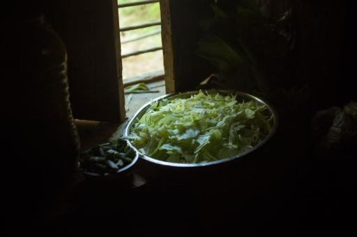 Sliced cabbage in a dish in Nepal.