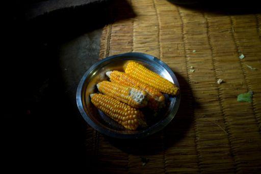 Corn in a metal dish in Nepal.