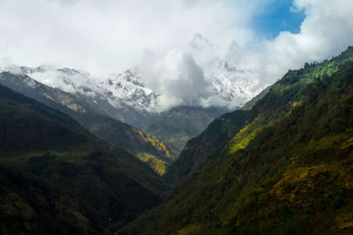 A view across the valleys to the Annapurnas.