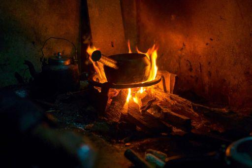 A pan on an open fire in Nepal.