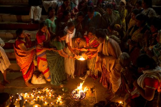 Worshipers celebrate the Maha Shivaratri Festival in Varanasi.