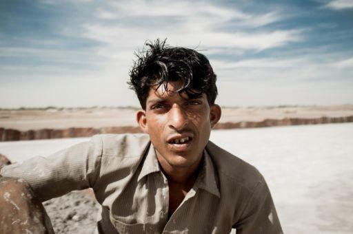 A salt worker in Rajasthan.