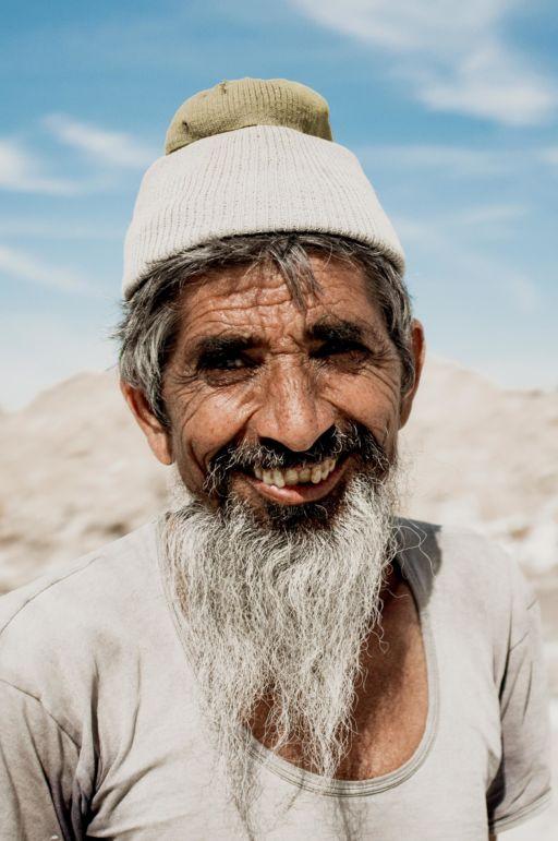 A bearded salt pan worker in Rajasthan.