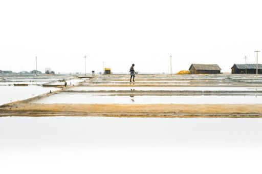 Salt pans in Tuticorin, Tamil Nadu filled with water at the end of the rainy season.