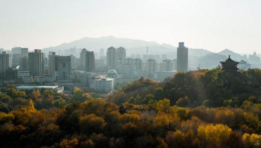 The skyline of Urumqi, Xinjiang.