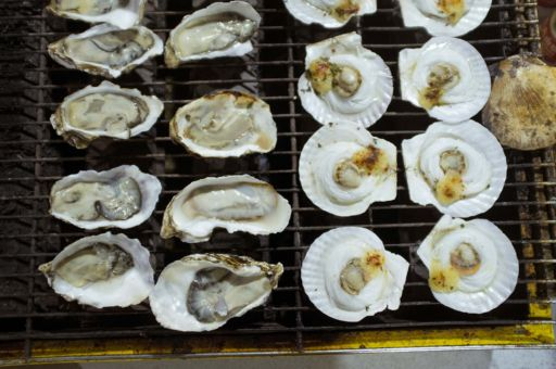 Oysters and scallops in shells, cooking on a grill in Hotan, Xinjiang