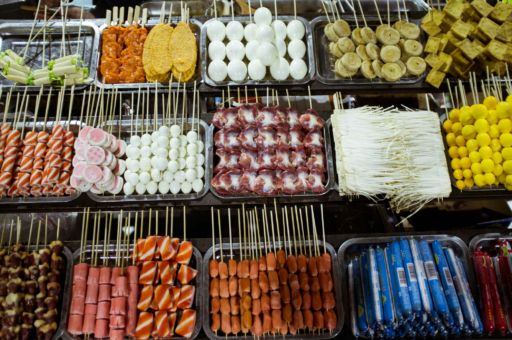 Trays of meat skewers in Hotan, Xinjiang