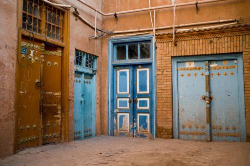Blue doorways in Yarkand, Xinjiang