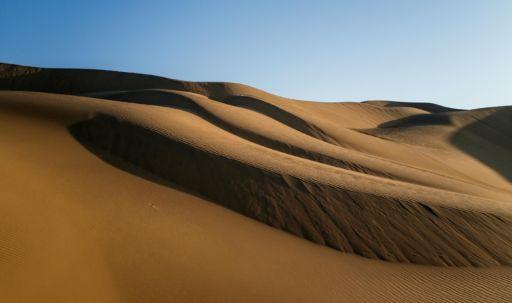 Sand dunes in the Taklamakan Desert in Xinjiang, China.