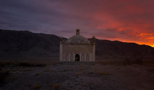 Sunrise over a tomb in Tashkurgan, Xinjiang.