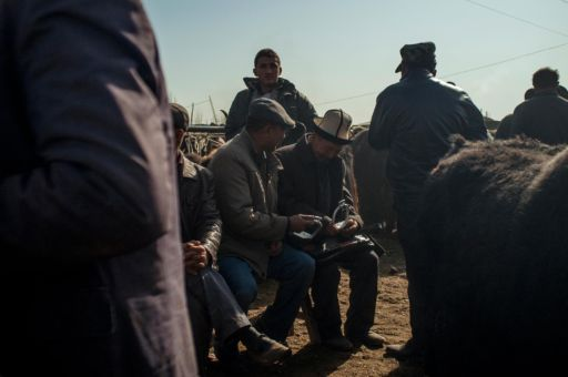 A man paying for livestock at a market in Kashgar.