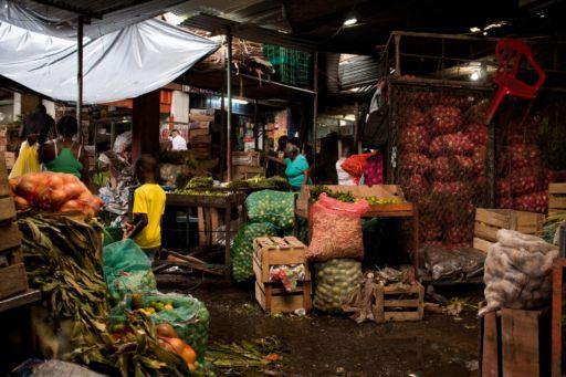 Stalls at the Galeria Pueblo Nuevo market in Buenaventura, Colombia.