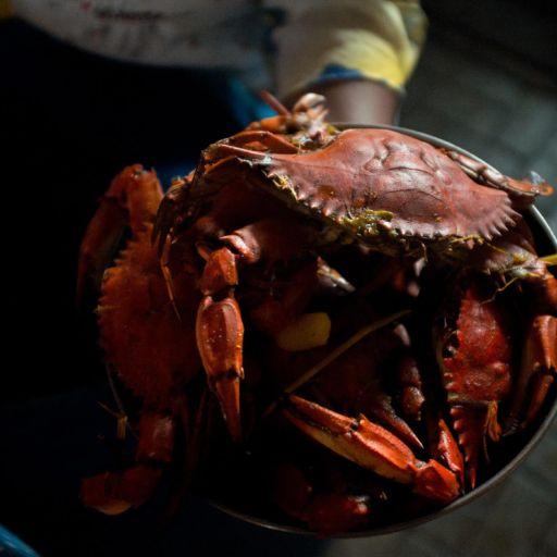 A pan of cooked crabs at the Galeria Pueblo Nuevo market in Buenaventura, Colombia